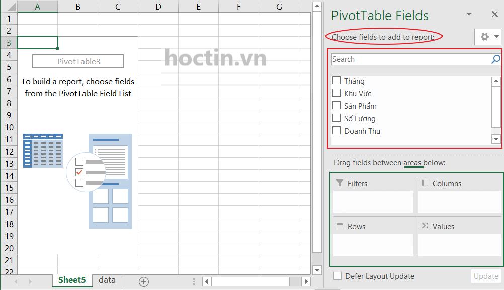 Khi bạn click vào một ô bất kỳ trong bảng Pivot, Pivot Table Fields sẽ hiện ra ở phía bên phải giao diện Excel với hai thành phần chính là Fields và Areas