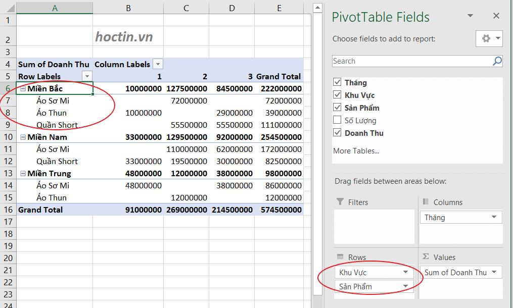 Nếu thứ tự thêm trường vào Area thay đổi, dữ liệu Pivot table cũng thay đổi tương ứng