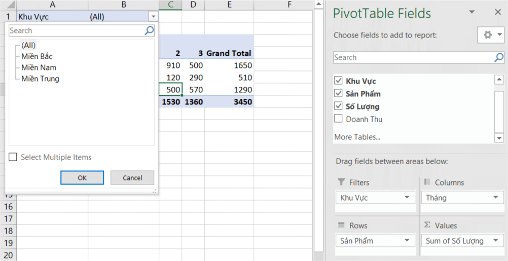 Filter Khu vực hiện ra ở đầu bảng Pivot Table, chọn mũi tên thả xuống