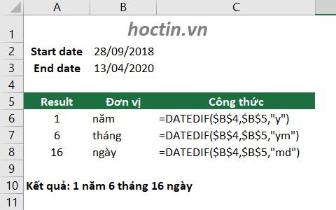 Dùng hàm DATEDIF tính khoảng thời gian tổng hợp ra năm, tháng, ngày