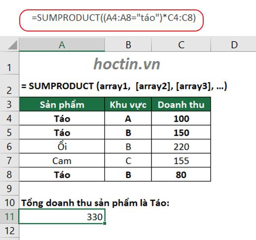 Hàm SUMPRODUCT Tính Tổng Các Mã Giống Nhau Trong Excel