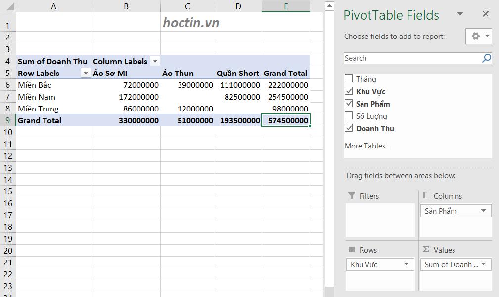 Sử dụng pivot table để tổng hợp doanh thu khu vực theo từng loại sản phẩm