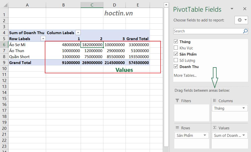 Sử dụng pivot table tổng hợp doanh thu từng sản phẩm theo tháng
