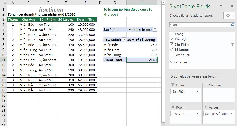 Cách Sử Dụng Pivot Table Nâng Cao Ứng Dụng Giải Bài Tập Excel Filters 2 Sản phẩm