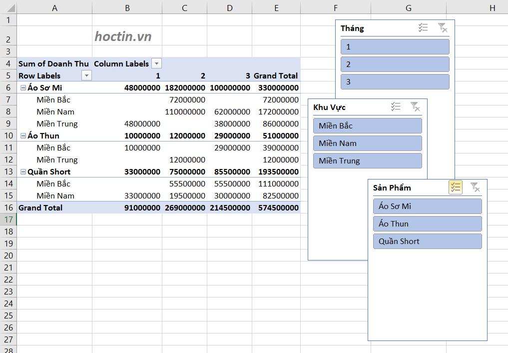 Sử Dụng Slicer Để Lọc Dữ Liệu Trong Pivot table nâng cao