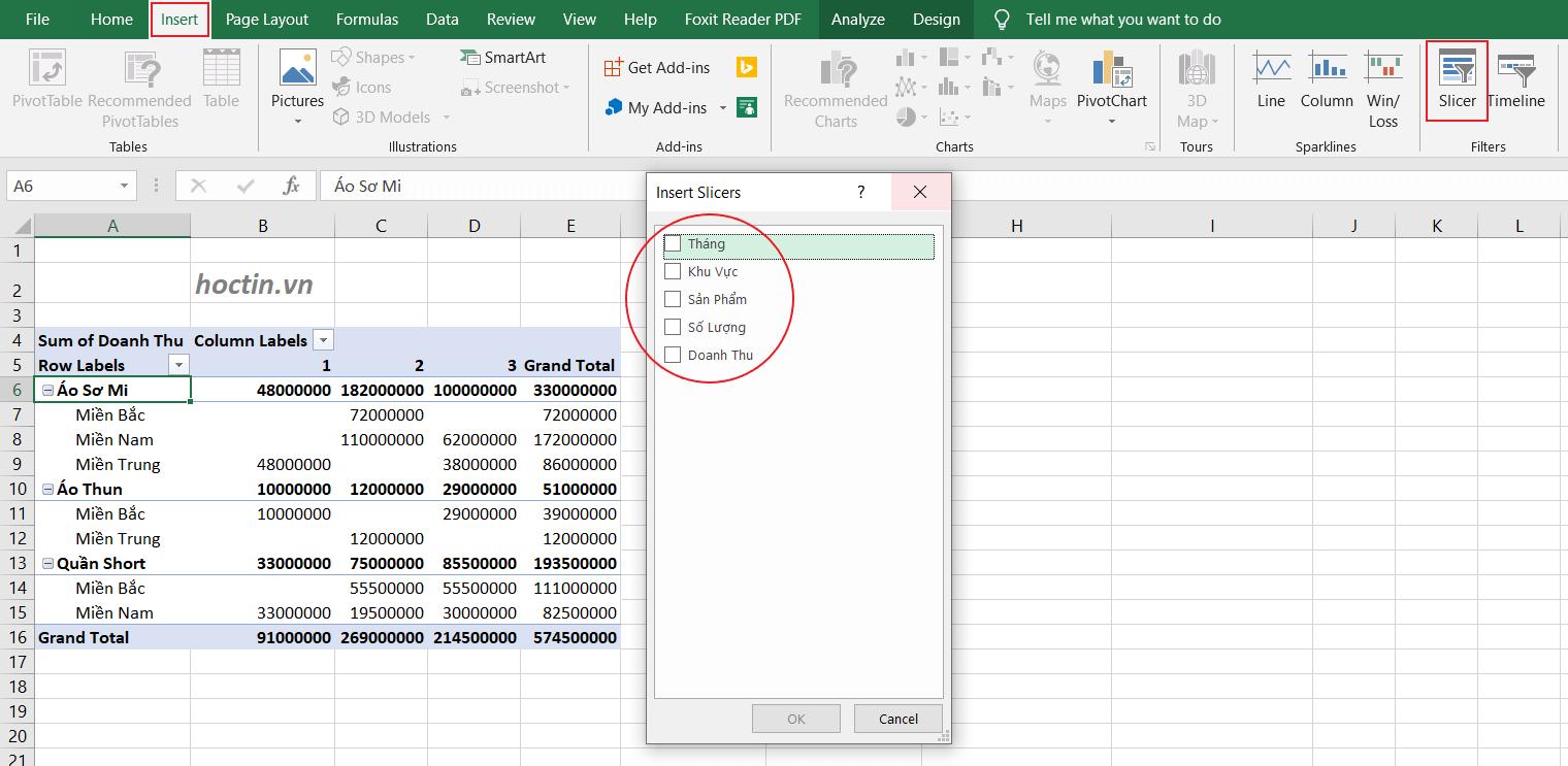 Sử Dụng Slicer Để Lọc Dữ Liệu Thay Thế Cho Filters Trong Pivot table nâng cao