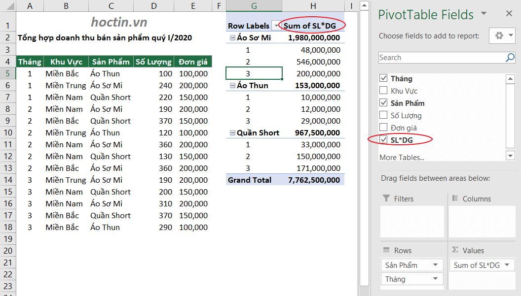 Dùng Calculated Field Của Pivot Table Để Thêm Trường Tính Toán Mà Không Cần Dùng Cách Thêm Cột Trong Excel