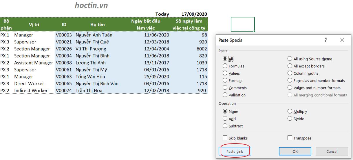 Cách sử dụng hộp thoại Paste Special để paste link trong Excel