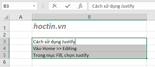 Sử Dụng Tính Năng Justify Để Gộp Hàng Trong Excel