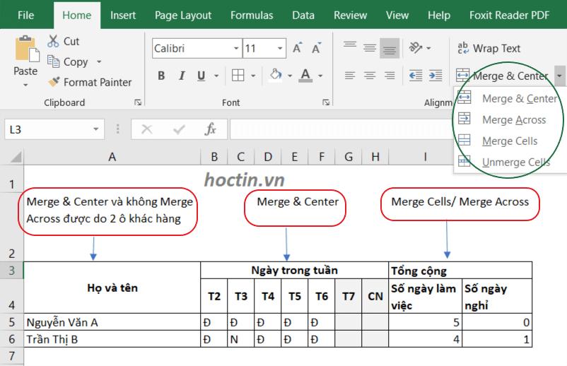 phân biệt các kiểu gộp ô trong Excel bằng Merge