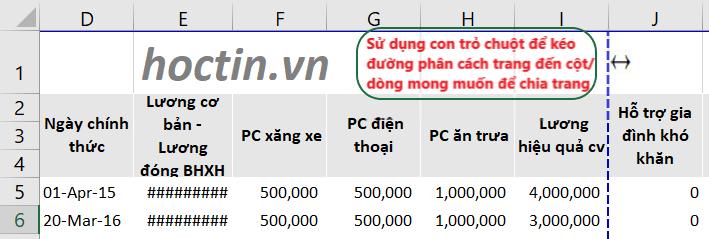 Thay đổi vị trí chia trang trong Excel