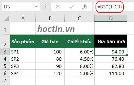 cách tính giá bán sau chiết khấu phần trăm trong Excel
