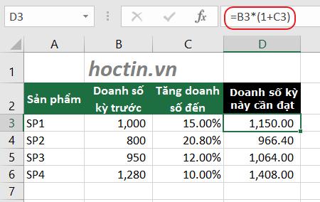 Tăng Doanh Số Theo Tỷ Lệ Phần Trăm Trong Excel So Với Kế Hoạch hoặc với doanh thu năm trước