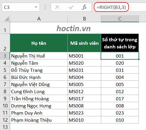 ví dụ cắt số từ chuỗi văn bản bằng hàm lấy ký tự trong Excel
