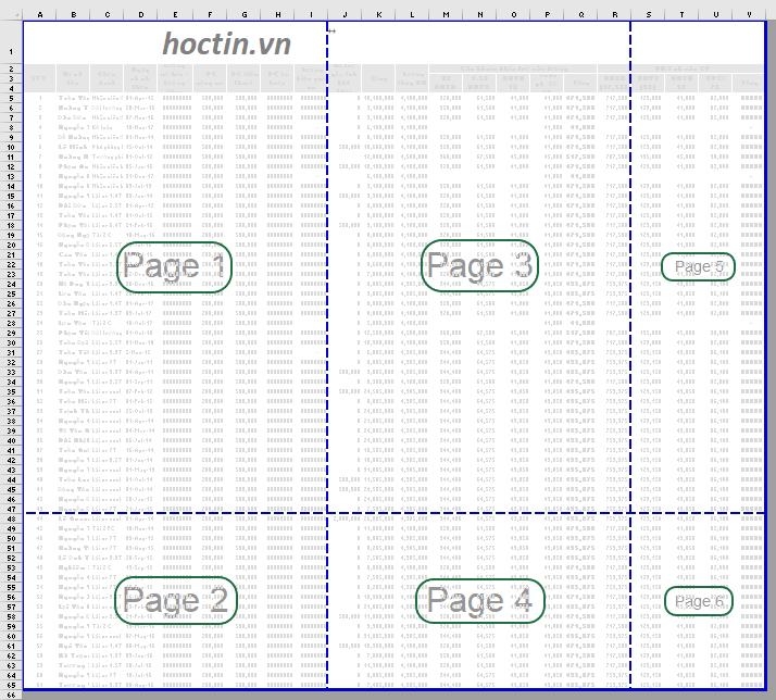 Thứ tự chia trang trong Excel