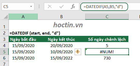Cách Trừ Ngày Trong Excel Bằng Hàm DATEDIF