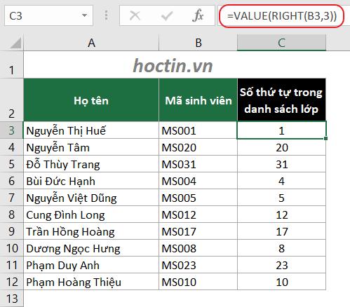 Kết Hợp Hàm VALUE Và Các Hàm Lấy Ký Tự Để Chuyển Từ Text Sang Number Trong Excel