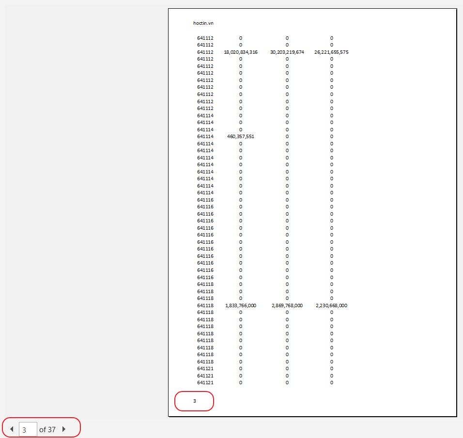 Kết quả đánh số trang trong Excel Print Preview
