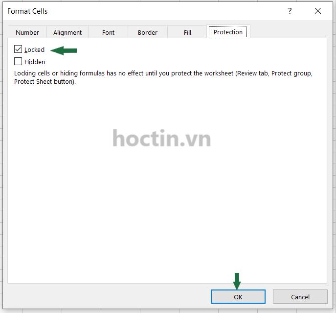 Cách mở hộp thoại Format Cells chọn Locked để Khóa ô trong Excel
