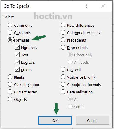 Cách mở hộp thoại Go Special Để Khóa Ô Trong Excel