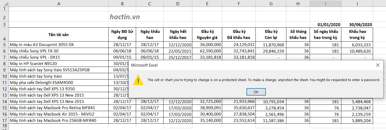 Khóa ô trong Excel