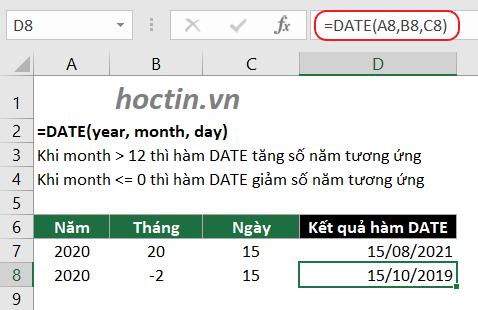 Lưu Ý Cách Dùng Hàm Date Lấy Tháng Trong Excel Với Đối Số Month