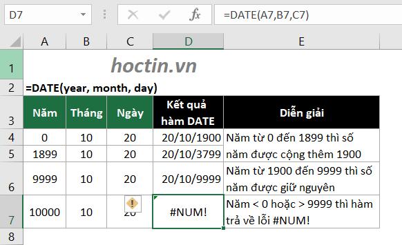 Lưu Ý Cách Dùng Hàm Date Cách Lấy Năm Trong Excel Với Đối Số Year