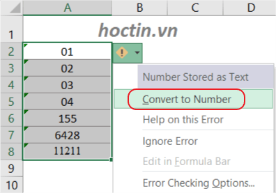 Sử Dụng Error Checking Chuyển Từ Text Sang Number Trong Excel