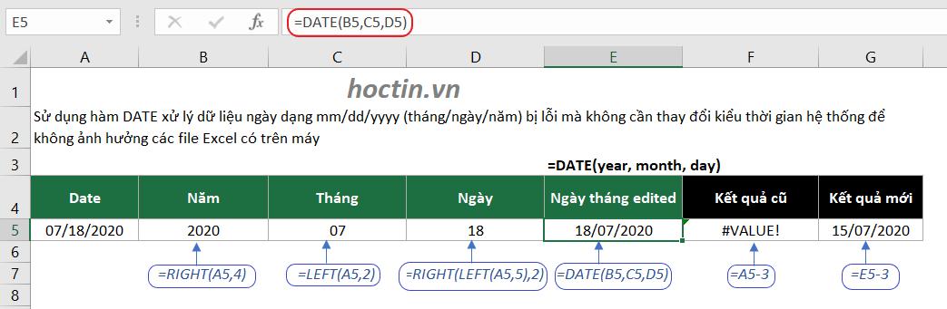 sử dụng hàm DATE được sử dụng kết hợp với các hàm LEFT, MID và RIGHT để chuyển đổi dữ liệu dạng văn bản thành ngày tháng trong Excel