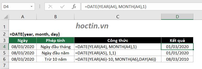 Sử Dụng Hàm DATE Làm Hàm Tính Ngày Trong Excel
