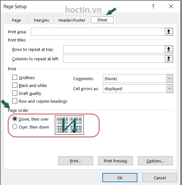 Cách thay đổi thứ tự số trang được thêm trong Excel