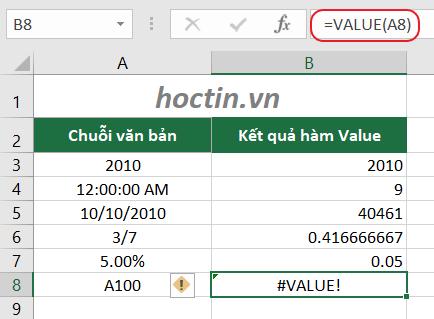hàm VALUE chỉ trả về giá trị số khi chuỗi giá trị trong công thức (đối số text) là 1 giá trị, hoặc định dạng số, ngày tháng, thời gian (những định dạng mà số sê-ri là số)