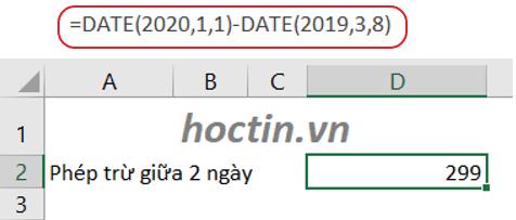 sử dụng hàm DATE nhập ngày tháng trong phép trừ trong Excel