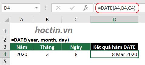Ví dụ hàm DATE lấy ngày tháng năm trong Excel