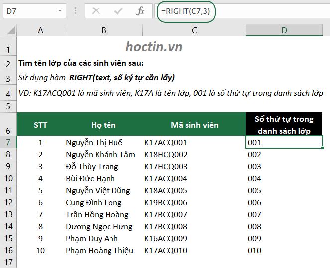 Sử Dụng Hàm Lấy Ký Tự Bất Kỳ Trong Excel Hàm RIGHT tách ký tự bên phải chuỗi
