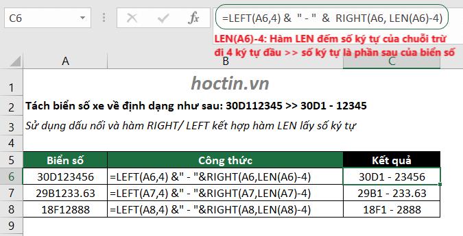 Ví dụ Kết Hợp Các Hàm Lọc Ký Tự Trong Excel Kết hợp hàm len và right