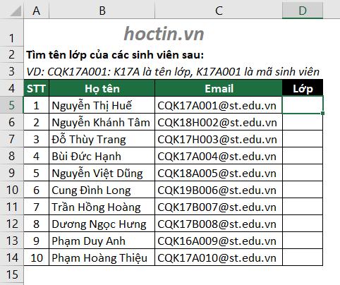 Ví Dụ Cần Sử Dụng Hàm Lấy Ký Tự Bất Kỳ Trong Excel
