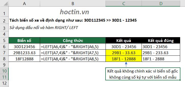 ví dụ kết hợp các hàm lấy ký tự trong Excel
