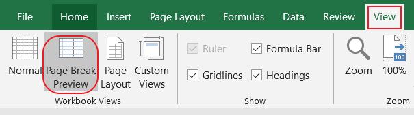 Xem cách ngắt trang chia trang trong Excel bằng tính năng Page Break Preview