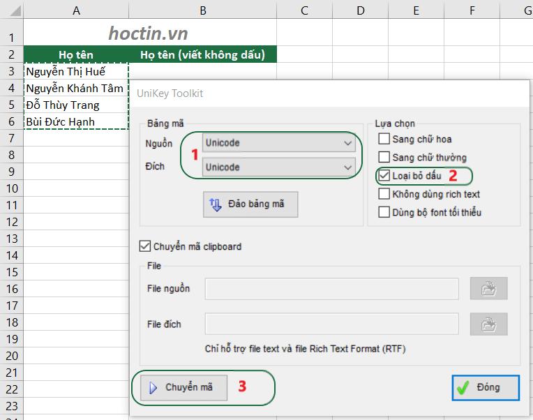 Cách bỏ dấu trong Excel bằng công cụ Unikey