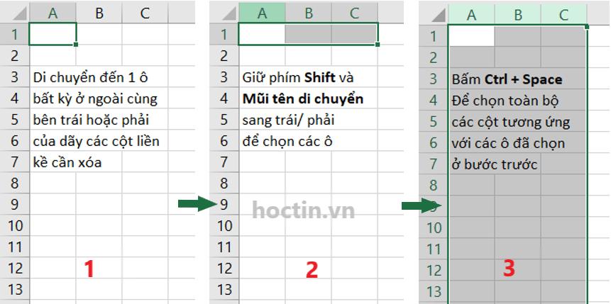 Để chọn nhiều cột liền kề nhau, di chuyển đến vị trí 1 ô bất kỳ nằm ở cột phía ngoài cùng bên trái hoặc bên phải, giữ phím Shift và phím mũi tên để chọn 1 dải ô thuộc các cột cần xóa, bấm Ctrl + Space để chọn các cột tương ứng các ô đó