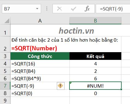 Cách Sử Dụng Hàm SQRT - Hàm Căn Bậc 2 Trong Excel