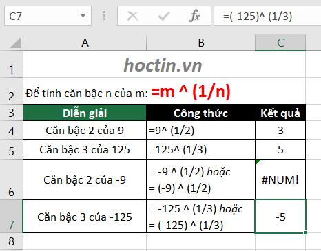 Cách Tính Căn Bậc N Và Căn Bậc 2 Của Một Số Trong Excel