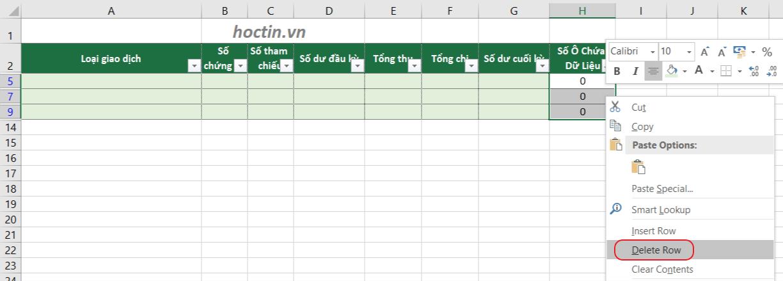 Loại bỏ dòng trống trong Excel bằng chuột phải