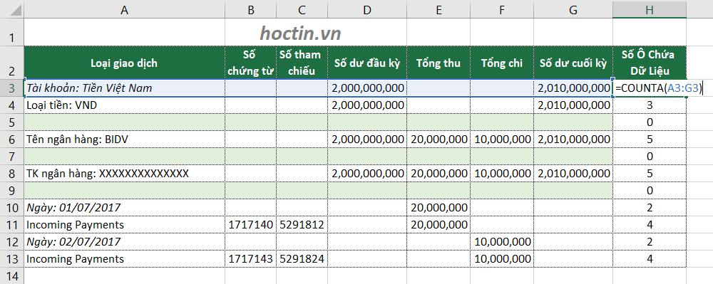 Để xóa dòng trống trong Excel khi không xác định được cột chính: Tạo một cột mới và sử dụng hàm COUNTA tính số ô chứa dữ liệu ở mỗi dòng
