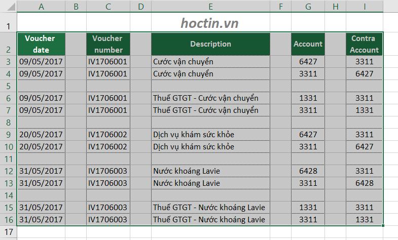 Chọn vùng dữ liệu cần xóa các cột và dòng trống trong Excel