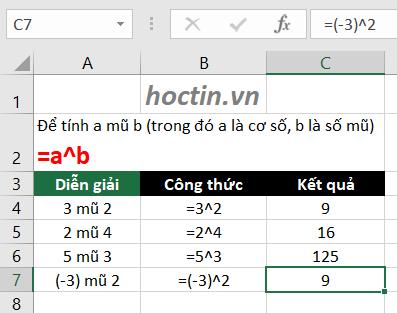 Hàm lũy thừa và hàm bình phương trong Excel: Để viết a mũ b trong Excel: =a^b