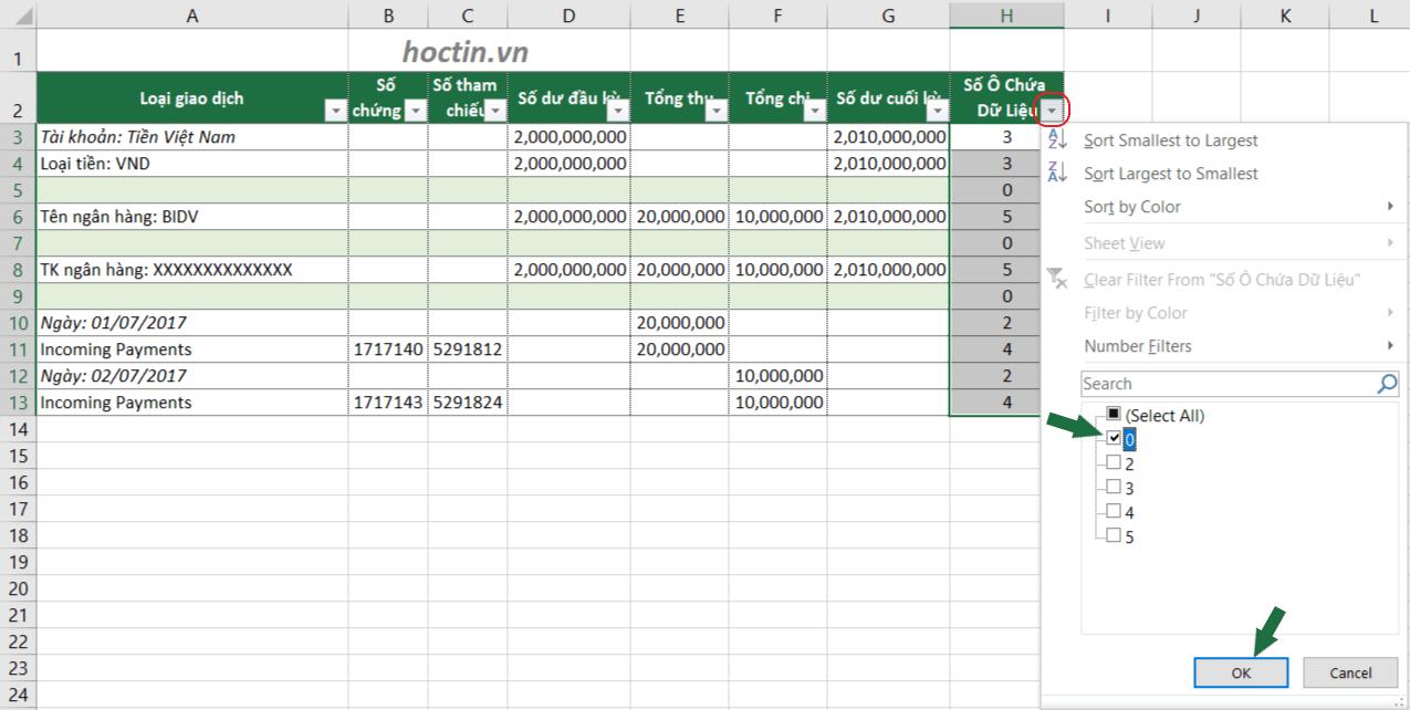 Để xóa dòng trống trong Excel: Sử dụng bộ lọc Filter lọc các dòng trống