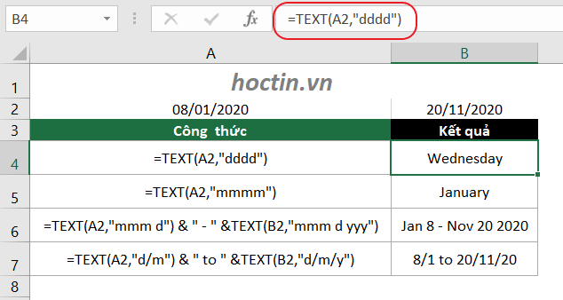 Ví dụ cách chuyển ngày tháng sang dạng text bằng hàm TEXT