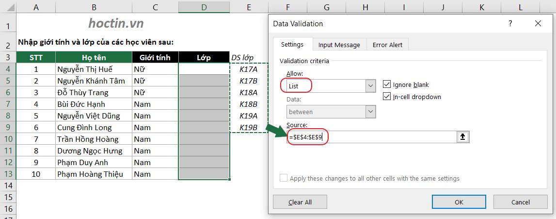 Tạo List Chọn Dữ Liệu Trong Data Validation Bằng Cách Tham Chiếu Đến Danh Sách Cho Trước